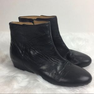 Nine West Women's Black Wedge Ankle Leather Boots